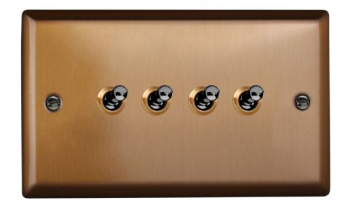 Varilight XYT9.BZ Urban Brushed Bronze 4 Gang 10A 1 or 2 Way Toggle Light Switch